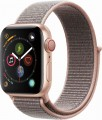 Apple - Apple Watch Series 4 (GPS + Cellular), 40mm Gold Aluminum Case with Pink Sand Sport Loop - Gold Aluminum