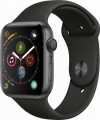 Apple - Apple Watch Series 4 (GPS), 44mm Space Gray Aluminum Case with Black Sport Band - Space Gray Aluminum
